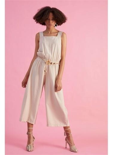 Z Giyim Kadın  Bej  Açık Yaka Tulum Bej